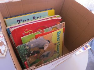 A box which contains children books.