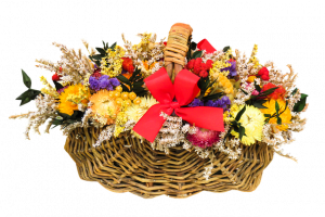 Flowers in the basket.