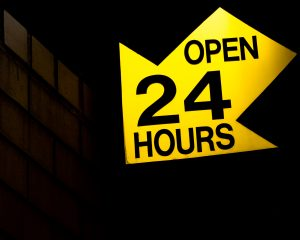Sign for open 24 hours